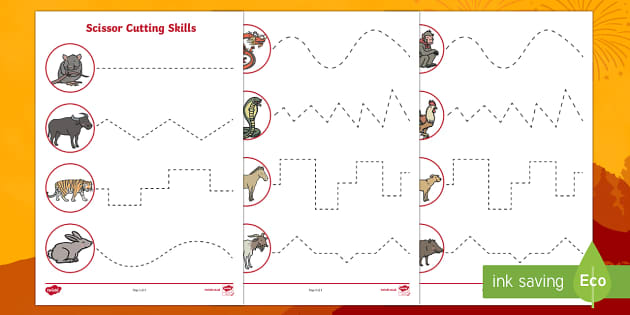 Chinese New Year Animals Cutting Skills Activity Sheets
