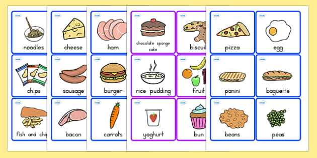 Food Cards - food, food words, word cards, flashcards, visual aid