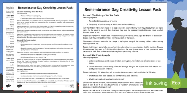 Remembrance Day Creativity Lesson Pack
