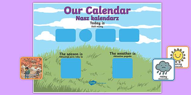 Daily Weather Calendar Weather Chart Long Date Format Polish Translation
