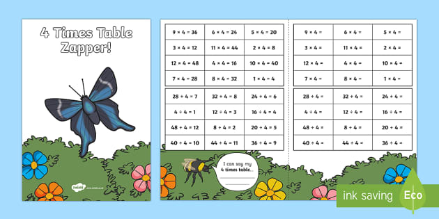 4 Times Table with Division Zapper