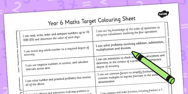 2014 Curriculum Year 6 Maths Target Colouring Sheet - numeracy