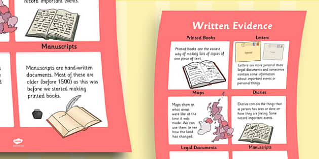 History Written Evidence Large Display Poster - display poster