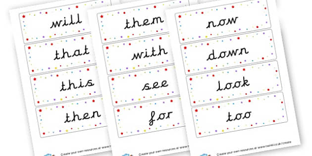 Phase 3 HFW - High Frequency Words Visual Aids Primary Resources, letters, frquency