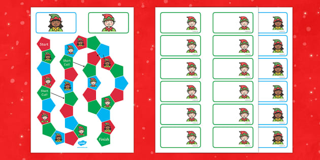 Elf Themed Editable Board Game - board game, elf, christmas, game