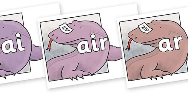 Phase 3 Phonemes on Komodo Dragon to Support Teaching on The Great Pet Sale - Phonemes, phoneme, Phase 3, Phase three, Foundation, Literacy, Letters and Sounds, DfES, display