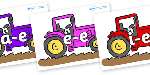 Modifying E Letters on Tractors - Modifying E, letters, modify, Phase 5, Phase five, alternative spellings for phonemes, DfES letters and Sounds