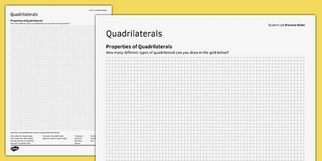 KS3_KS4 Maths Student Led Practice Sheets Properties of Quadrilaterals - maths, KS3, KS4, GCSE, worksheet, practise, independent, growth mindset, shape, 2D, properties, quadrilaterals, square, rectangle, trapezium, parallelogram, kite,