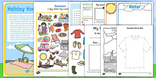 Parent Summer Holiday activity pack
