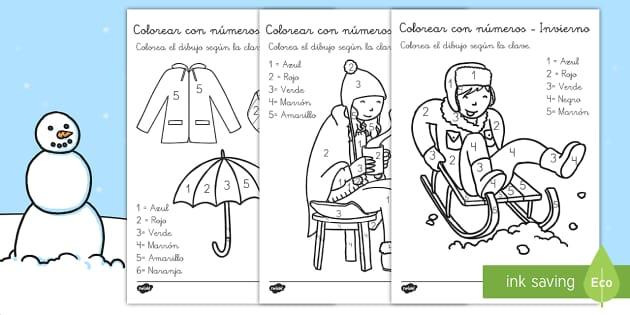 Colorear con números: El invierno - pasatiempos, contar, números, navidad, estaciones, estaciones del año, Spanish