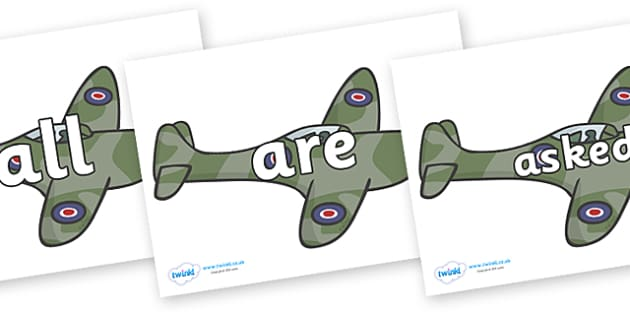 Tricky Words on Planes - Tricky words, DfES Letters and Sounds, Letters and sounds, display, words
