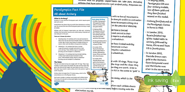Rio Paralympics 2016: All About Archery  Fact File
