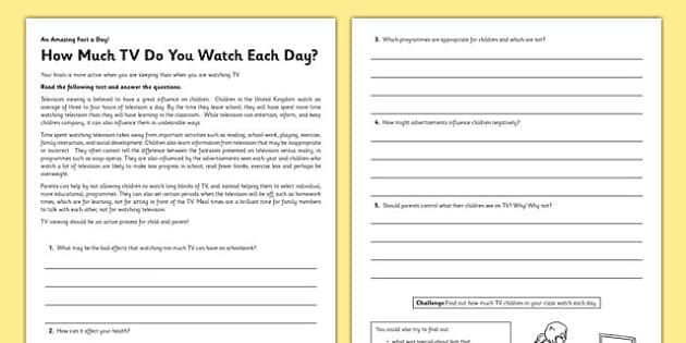 How Much TV Do You Watch Each Day? Reading Comprehension Activity - tv watch, reading comprehension