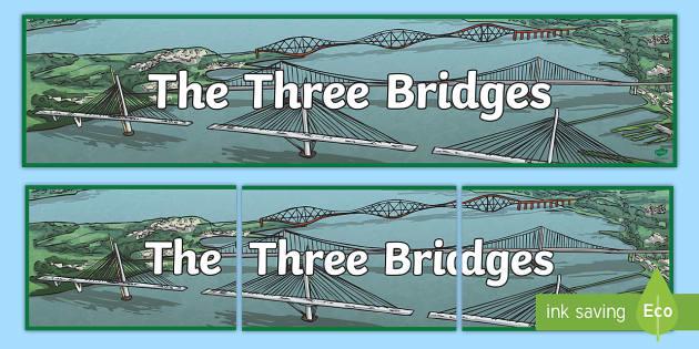 CfE The Three Bridges Display Banner - Scottish Landmarks, CfE,Bridges, Tourist attractions, STEM, Engineering, technology, design, Queensf