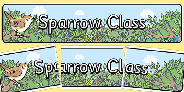 Sparrow Themed Classroom Display Banner - sparrow, display, banner