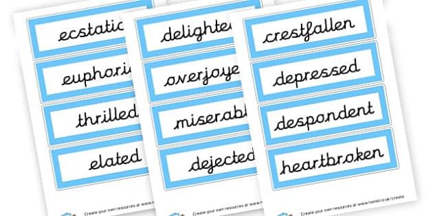 Describing Feelings Word List - SEN Feeling Charts Resources, Feelings, Emotions, Feeling Aids