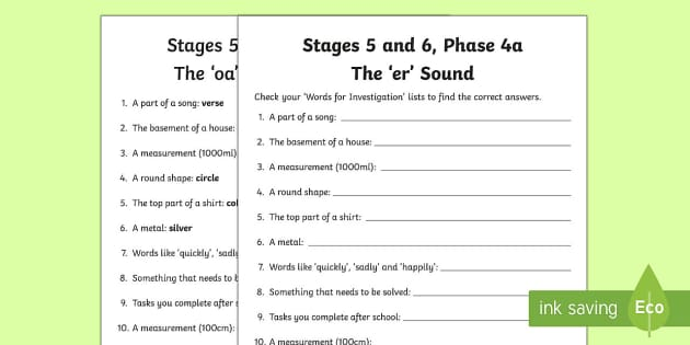 Linguistic Phonics Stage 5 and 6 Phase 4a, 'er' Sound Word Work Activity Sheet - Linguistic Phonics, Stage 5, Stage 6, Phase 4a, Northern Ireland, 'er' sound, word work, anagram