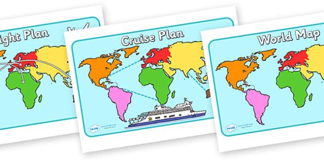 Montessori World Map Posters - Montessori, posters, sign, display, flight plan, cruise plan, world map, plane, ship, travel
