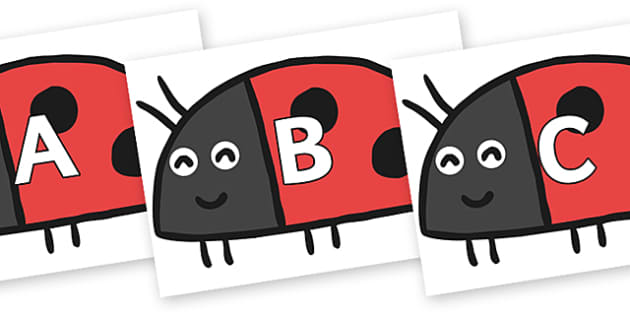 A-Z Alphabet on Ladybird to Support Teaching on What the Ladybird Heard - A-Z, A4, display, Alphabet frieze, Display letters, Letter posters, A-Z letters, Alphabet flashcards