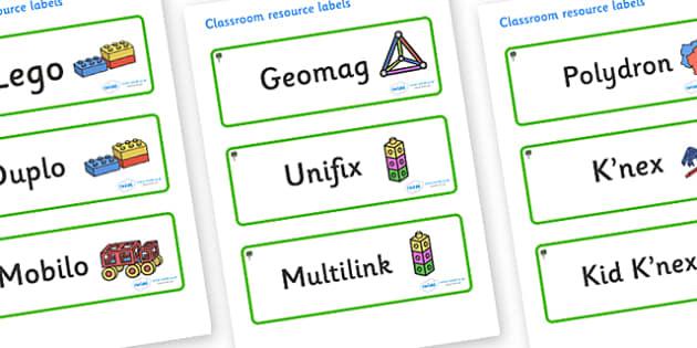 Bay Tree Themed Editable Construction Area Resource Labels - Themed Construction resource labels, Label template, Resource Label, Name Labels, Editable Labels, Drawer Labels, KS1 Labels, Foundation Labels, Foundation Stage Labels