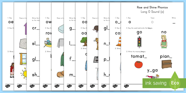 Rise and Shine Phonics Long O Sound Morning Activity Sheets - long vowels, long o, morning work, phonics, worksheets