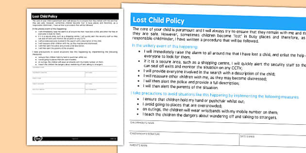 Lost Child Policy for Childminders - childminders, policy, lost