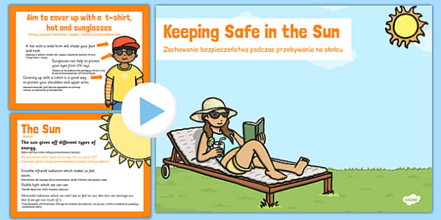 Sun Safety PowerPoint Polish Translation - sun, safe, holiday, hot, health, bodies, ourselves, heat, suncream, cream