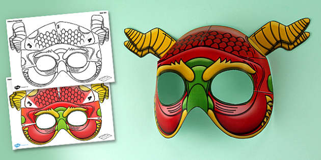 Chinese New Year 3D Dragon Mask - chinese new year, 3d mask, dragon mask, 3d dragon mask, paper model, paper, model, paper craft, craft