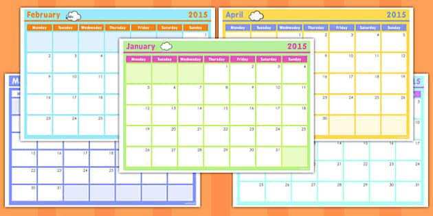 Monthly Calendar Planning Template 2015 - calendar, 2015, month