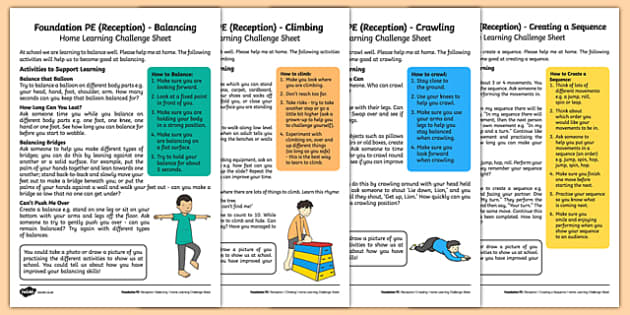 Foundation PE (Reception) - Gymnastics - Gym in the Jungle Home Learning Challenge Sheets Pack - EYFS, PE, Physical Development, Planning