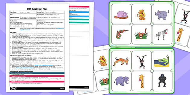 Jungle Themed Pass the Animal Sound EYFS Adult Input Plan to Support Teaching on Rumble in the Jungle - jungle