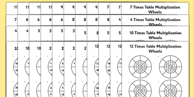 2 to 12 Times Table Multiplication Wheels Bumper Activity Sheet Pack - 2, 3, 4, 5, 6, 7, 8, 9, 10, 11, 12, times table, multiplication wheels, activity sheet, multiplication, wheels, worksheet