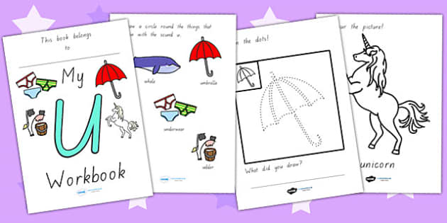 My Workbook U Lowercase - letter formation, writing, tracing