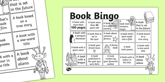 Book Bingo Activity Sheet - reading, literacy, game, library, ks2, interaction, stories, , worksheet