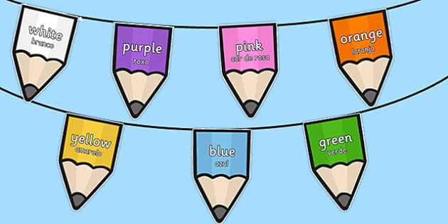 Colours on Pencil Bunting Portuguese Translation - portuguese, colours, pencil, bunting, display