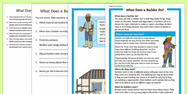 What Does A Builder Do? Differentiated Reading Comprehension Activity