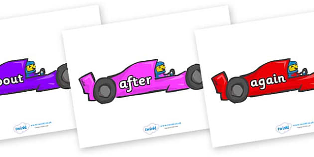 KS1 Keywords on Racing Cars - KS1, CLL, Communication language and literacy, Display, Key words, high frequency words, foundation stage literacy, DfES Letters and Sounds, Letters and Sounds, spelling