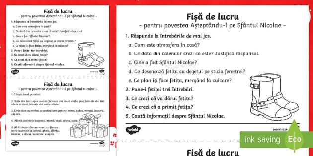Asteptandu l pe Sfantul Nicolae Fișă de lucru - Moș Nicolae, Sfântul Nicolae, poveste, exerciții pe text, Nicolae, nuielușă, materiale, materia