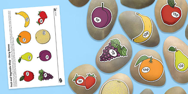 Fruit and Vegetable Shop Story Stones Image Cut Outs - fruit and vegetable shop, fruit, vegetable, shop, role play, story stones, story, stones, images, stone, cut out