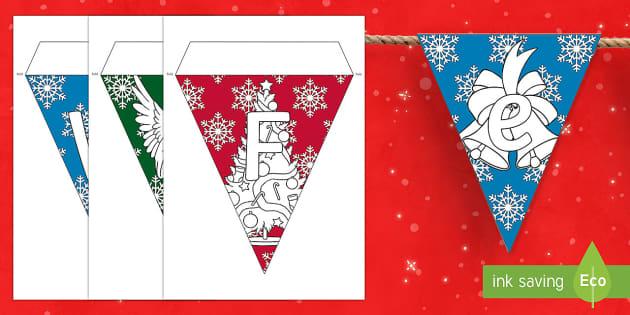 Zum Selbstgestalten: Weihnachts Fahnengirlande für die Klassenraumgestaltung