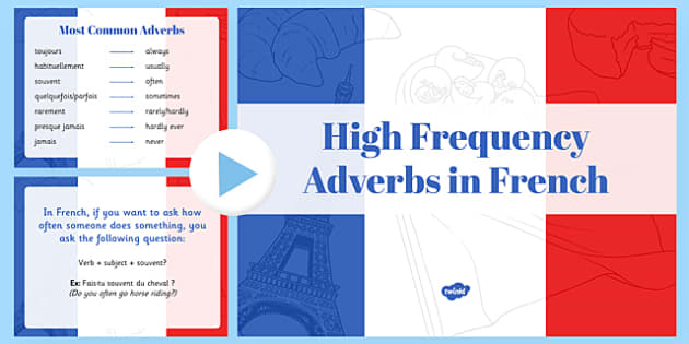 Les adverbes de fréquence - high frequency, adverbs, powerpoint, words, frequency