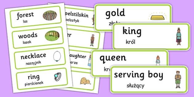 Rumpelstiltskin Word Cards Polish Translation - polish, rumpelstiltskin, word cards