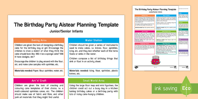 The Birthday Party Aistear Planning Template