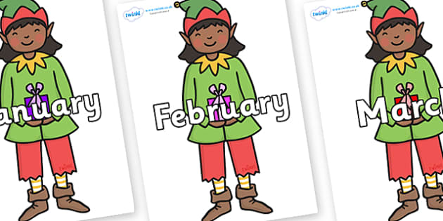 Months of the Year on Green Elf (Girl) - Months of the Year, Months poster, Months display, display, poster, frieze, Months, month, January, February, March, April, May, June, July, August, September