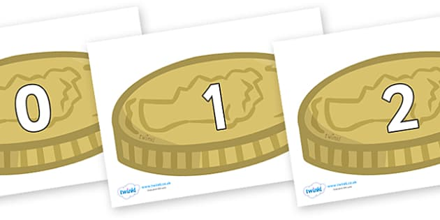 Numbers 0-50 on Coins - 0-50, foundation stage numeracy, Number recognition, Number flashcards, counting, number frieze, Display numbers, number posters