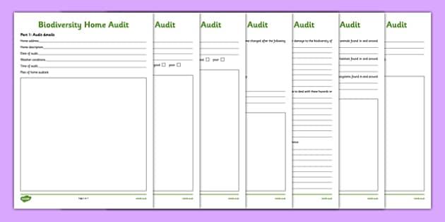 Biodiversity Home Audit Activity Sheet - biodiversity, home, audit, activity sheet, action plan, green schools, worksheet