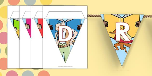 Roald Dahl Display Bunting - display bunting, roald dahl, roald dahl bunting, display, bunting, dahl display bunting, flag bunting, dahl, paper bunting