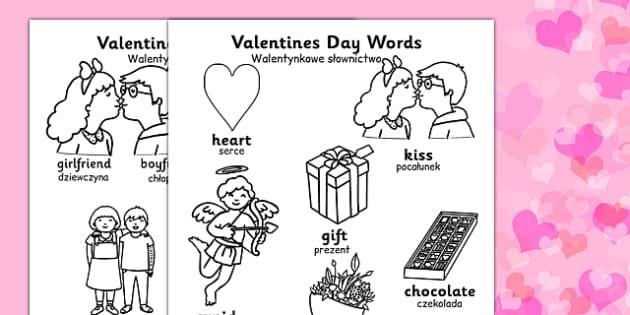 Valentine's Day Words Colouring Sheets Polish Translation - polish