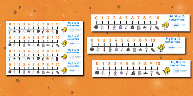 Number Line 0-10 (Halloween) - Number Lines 0-10, Counting, 0, 10, Numberline, Number line, Counting on, Counting back, Foundation Numeracy, Halloween, pumpkin , witch, bat, scary, black cat, mummy, grave stone, cauldron, broomstick, haunted house, p