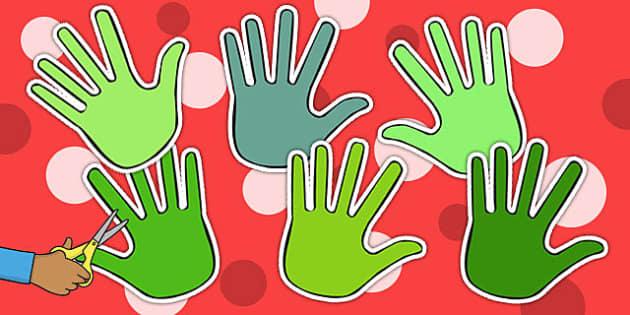 Shades of Green Handprint Cut Outs - activity, activities, craft